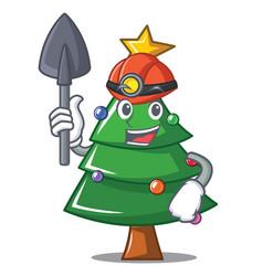 Miner christmas tree character cartoon vector