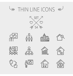 Real Estate thin line icon set vector image