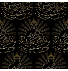 Seamless pattern of gold buddha and lotus vector