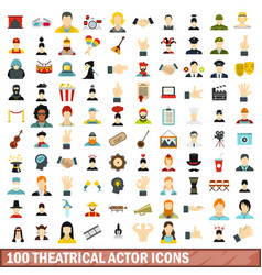 100 theatrical actor icons set flat style vector