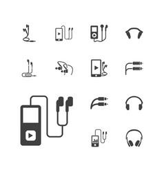 13 earphones icons vector
