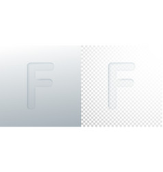 3d paper cut letter f isolated on transparent vector image