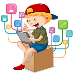 A boy using tablet for distance learning online vector