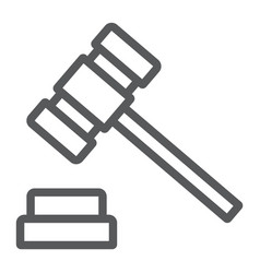 auction hammer line icon finance and banking vector image