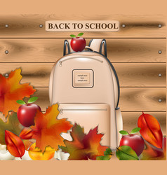 back to school school bag and autumn vector image