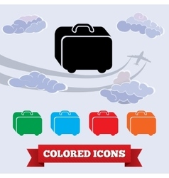 Bag icon Traveling luggage Airport baggage info vector