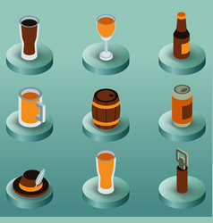 beer color isometric icons vector image