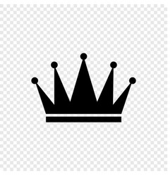 black crown icon on transparent background vector image
