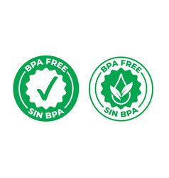 bpa free green check mark certified icon safe vector image