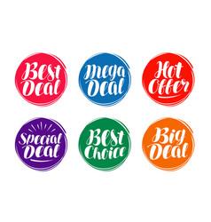 Business sale label set hot offer best deal vector