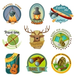 Camping Colorful Emblems vector image