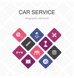 Car service infographic 10 option color design vector