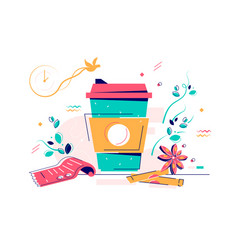 Cardboard cup warm coffee with sugar and anise vector