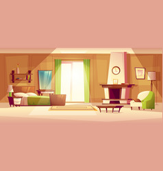 Cartoon of a bedroom interior vector