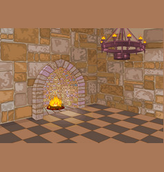 castle hall and fireplace vector image