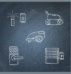 chalkboard house and garden automation icon set vector image