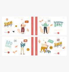 Characters perform hand gestures landing page vector