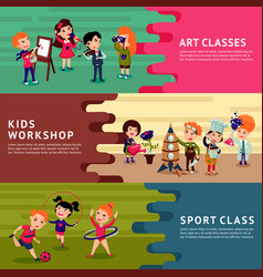 children hobbies education horizontal banners vector image