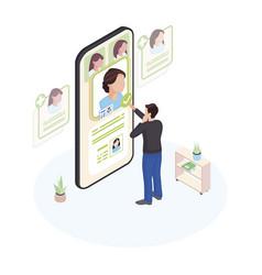choosing doctor online isometric patient vector image