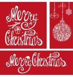 Christmas cardsLettering typography elementsRed vector