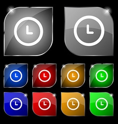 clock icon sign Set of ten colorful buttons with vector image