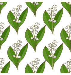 Colored lily of the valley pattern in hand drawn vector
