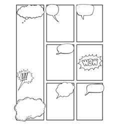 Comics blank layout template background vector