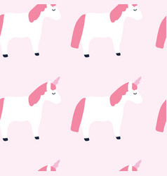 Cute unicorns pink background seamless pattern vector