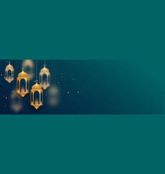 Decorative islamic lamps banner with text space vector
