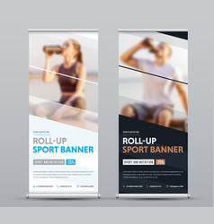 Design of vertical roll-up banner with diagonal vector