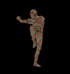 Drunken kung fu pose designed using colorful pixel vector