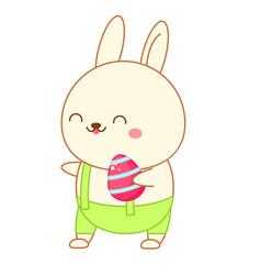 easter bunny with egg cartoon rabbit in kawaii vector image