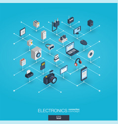 Electronics integrated 3d web icons digital vector