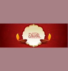 Ethnic indian diwali festival red banner design vector