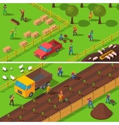 Farming Concept 2 Isometric Banners Set vector