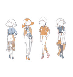 fashion girls set hand drawn creative vector image