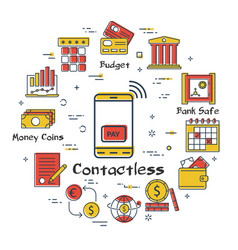 finance and banking concept - contactless payment vector image