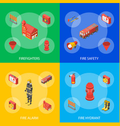 firefighter man and equipment banner set isometric vector image