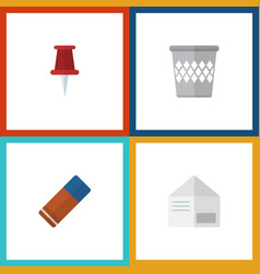 flat icon tool set of pushpin rubber trashcan vector image