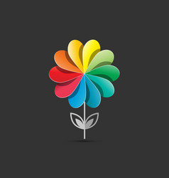 flower logo design circle plant colorful company vector image