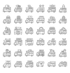 Food truck icon set line style editable stroke vector