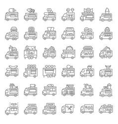 food truck icon set line style editable stroke vector image