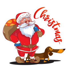 funny cartoon santa claus with sack presents vector image