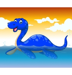 funny dinosaur cartoon swimming with sea life vector image vector image