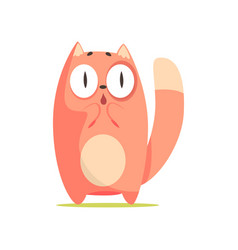 Funny surprised red cat with big eyes cute vector