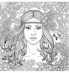Girl among the corals coloring page vector