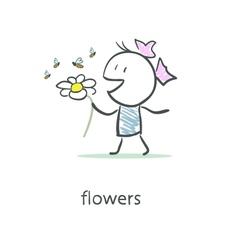 Girl and flower vector