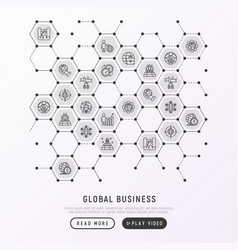 global business concept in honeycombs vector image