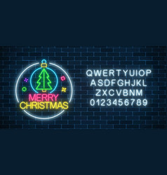 glowing neon sign with christmas tree in vector image