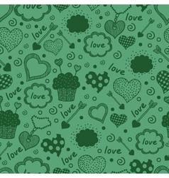 Green hearts pattern vector